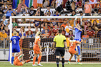 Houston, TX - Wednesday June 28, 2017: Houston Dash Goalkeeper, Jane Campbell stops a shot on goal during a regular season National Women's Soccer League (NWSL) match between the Houston Dash and the Boston Breakers at BBVA Compass Stadium.