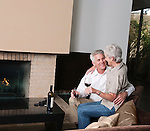 USA, California, Mill Valley, Couple drinking wine in living room