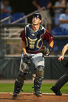 Mahoning Valley Scrappers catcher Daniel Salters (12) during a game against the Auburn Doubledays on September 4, 2015 at Falcon Park in Auburn, New York.  Auburn defeated Mahoning Valley 5-1.  (Mike Janes/Four Seam Images)