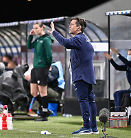 Swiss head coach Nils Nielsen pictured gesturing during the Womens International Friendly game between France and Switzerland at Stade Saint-Symphorien in Longeville-lès-Metz, France.