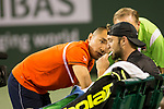 March 13, 2018: Jack Sock (USA) receives medical treatment during his defeat by Feliciano Lopez (ESP) 7-6(6), 4-6, 6-4 at the BNP Paribas Open played at the Indian Wells Tennis Garden in Indian Wells, California. ©Mal Taam/TennisClix/CSM