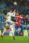 Real Madrid's player Danilo Luiz Da Silva and Sporting de Gijon's player Victor R. during match of La Liga between Real Madrid and Sporting de Gijon at Santiago Bernabeu Stadium in Madrid, Spain. November 26, 2016. (ALTERPHOTOS/BorjaB.Hojas)