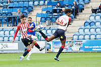 Cohen Bramall of Colchester has his shot blocked during Colchester United vs Oldham Athletic, Sky Bet EFL League 2 Football at the JobServe Community Stadium on 3rd October 2020