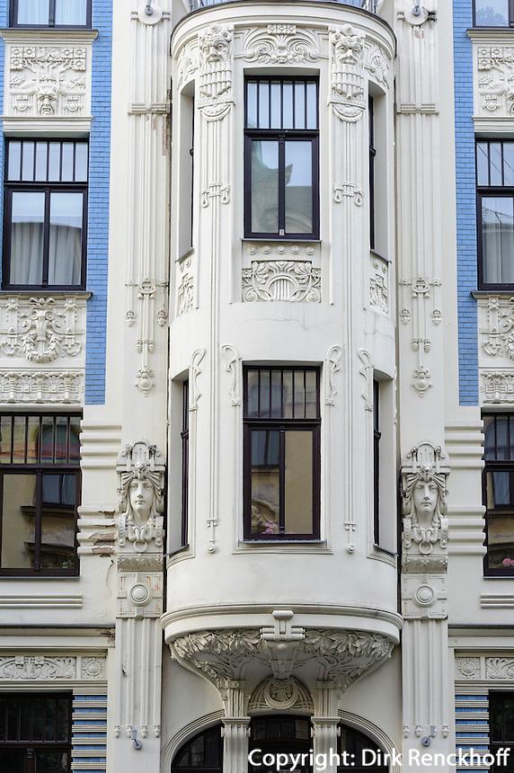 Jugendstilhaus in der Alberta Iela 4, erbaut von Michail Eisenstein in Riga, Lettland, Europa, Unesco-Weltkulturerbe
