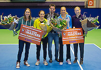 21-12-13,Netherlands, Rotterdam,  Topsportcentrum, Tennis Masters, Winners lady's final doubles: Indy de Vroome and Michaella Krajicek(R)(NED). and runners up lady's final doubles: Danielle Harmsen and Olga Kalyuzhnaya(NED), in the middle tournament director Raemon Sluiter<br /> Photo: Henk Koster