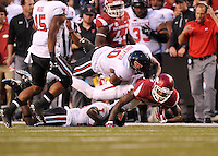 NWA Democrat-Gazette/MICHAEL WOODS • @NWAMICHAELW<br /> University of Arkansas receiver Kendrick Edwards is tackled by Texas Tech defender Pete Robertson in the 2nd quarter of Saturday nights game against the Razorbacks at Razorback Stadium in Fayetteville.
