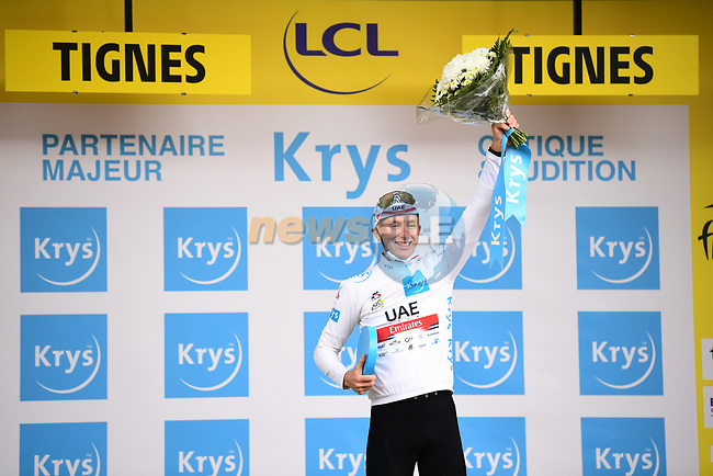 Tadej Pogacar (SLO) UAE Team Emirates also retains the young riders White Jersey at the end of Stage 9 of the 2021 Tour de France, running 150.8km from Cluses to Tignes, France. 4th July 2021.  <br /> Picture: A.S.O./Pauline Ballet | Cyclefile<br /> <br /> All photos usage must carry mandatory copyright credit (© Cyclefile | A.S.O./Pauline Ballet)