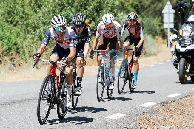 The breakaway including Gianluca Brambilla (ITA) Trek-Segafredo during Stage 15 of La Vuelta d'Espana 2021, running 197.5km from Navalmoral de la Mata to El Barraco, Spain. 29th August 2021.    <br /> Picture: Cxcling | Cyclefile<br /> <br /> All photos usage must carry mandatory copyright credit (© Cyclefile | Cxcling)