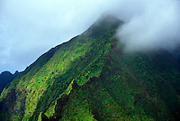 Aerial of Olomana mountain near the Koolau mountain range of windward Oahu