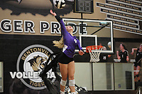Kennedy Phelan (4) of Fayetteville serves ball on Thursday, Oct.  7, 2021, during play at Tiger Arena in Bentonville. Visit nwaonline.com/211008Daily/ for today's photo gallery.<br /> (Special to the NWA Democrat-Gazette/David Beach)