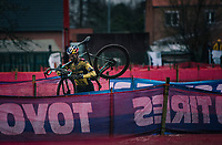 Wout van Aert (BEL/Jumbo-Visma) racing the UCI cyclo-cross World Cup in Dendermonde on september 27, 2020 in Belgium.<br /> <br /> ©kramon