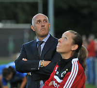20130830 - VARSENARE , BELGIUM : Ajax coach Ed Engelkes (left) pictured during the female soccer match between Club Brugge Vrouwen and Ajax Amsterdam Dames , of the first matchday in the BENELEAGUE competition. Friday 30 August 2013. PHOTO DAVID CATRY