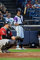 """Akron RubberDucks Nolan Jones (17) during an Eastern League game against the Erie SeaWolves on August 30, 2019 at Canal Park in Akron, Ohio.  Akron wore special jerseys with the slogan """"Fight Like a Kid"""" during the game for Akron Children's Hospital Home Run for Life event, the design was created by 11 year old Macy Carmichael.  Erie defeated Akron 3-2.  (Mike Janes/Four Seam Images)"""