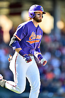 Clemson Tigers right fielder Seth Beer (28) walks to first base during a game against the South Carolina Gamecocks at Fluor Field on March 3, 2018 in Greenville, South Carolina. The Tigers defeated the Gamecocks 5-1. (Tony Farlow/Four Seam Images)