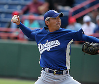 Los Angeles Dodgers Takashi Saito during a Grapefruit League Spring Training game at Spacecoast Stadium on March 19, 2007 in Melbourne, Florida.  (Mike Janes/Four Seam Images)