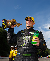 Jun 18, 2017; Bristol, TN, USA; NHRA pro stock driver Alex Laughlin celebrates after winning the Thunder Valley Nationals at Bristol Dragway. Mandatory Credit: Mark J. Rebilas-USA TODAY Sports
