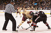 Chris Aughe, Pat Mullane (BC - 11), Braden Pimm (NU - 14) - The Boston College Eagles defeated the Northeastern University Huskies 6-3 for their fourth consecutive Beanpot championship on Monday, February 11, 2013, at TD Garden in Boston, Massachusetts.