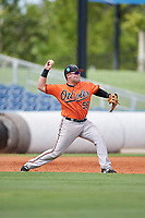 Baltimore Orioles Trevor Putzig (56) throws to second base during a Florida Instructional League game against the Tampa Bay Rays on October 1, 2018 at the Charlotte Sports Park in Port Charlotte, Florida.  (Mike Janes/Four Seam Images)