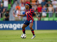 AUSTIN, TX - JUNE 16: Crystal Dunn #19 of the USWNT dribbles during a game between Nigeria and USWNT at Q2 Stadium on June 16, 2021 in Austin, Texas.