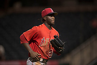 AZL Angels right fielder D'Shawn Knowles (20) jogs off the field between innings of an Arizona League game against the AZL Diamondbacks at Tempe Diablo Stadium on June 27, 2018 in Tempe, Arizona. AZL Angels defeated the AZL Diamondbacks 5-3. (Zachary Lucy/Four Seam Images)