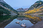 US, CO, White River NF, Maroon Bells with Autumn Color at Dawn