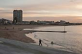Margate beach and landmark Arlington House flats on the seafront.