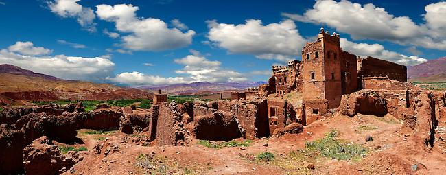 Exterior of the mud brick Berber Kasbah Telouet, Atlas Mountains Morocco