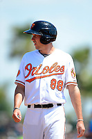 Baltimore Orioles infielder Glynn Davis #88 during a Spring Training game against the New York Mets at Ed Smith Stadium on March 30, 2013 in Sarasota, Florida.  (Mike Janes/Four Seam Images)