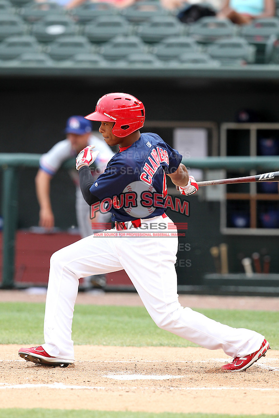 Memphis Redbirds outfielder Adron Chambers #4 at bat during a game versus the Round Rock Express at Autozone Park on April 30, 2011 in Memphis, Tennessee.  Memphis defeated Round Rock by the score of 10-7.  Photo By Mike Janes/Four Seam Images