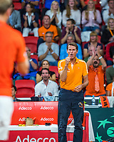 The Hague, The Netherlands, September 15, 2017,  Sportcampus , Davis Cup Netherlands - Chech Republic, First rubber: Thiemo de Bakker (NED) is supported by dutch captain Paul Haarhuis. <br /> Photo: Tennisimages/Henk Koster
