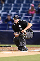 Home plate umpire Derek Ivinski watches a home run during a game between the Daytona Tortugas and Tampa Yankees on April 24, 2015 at George M. Steinbrenner Field in Tampa, Florida.  Tampa defeated Daytona 12-7.  (Mike Janes/Four Seam Images)