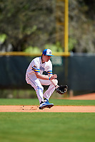 South Dakota State Jackrabbits second baseman Luke Ira (1) fields a ground ball during a game against the FIU Panthers on February 23, 2019 at North Charlotte Regional Park in Port Charlotte, Florida.  South Dakota State defeated FIU 4-3.  (Mike Janes/Four Seam Images)