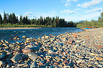 Canoes on the shore of the North Fork of the Flathead River down stream from Polebridge, Montana