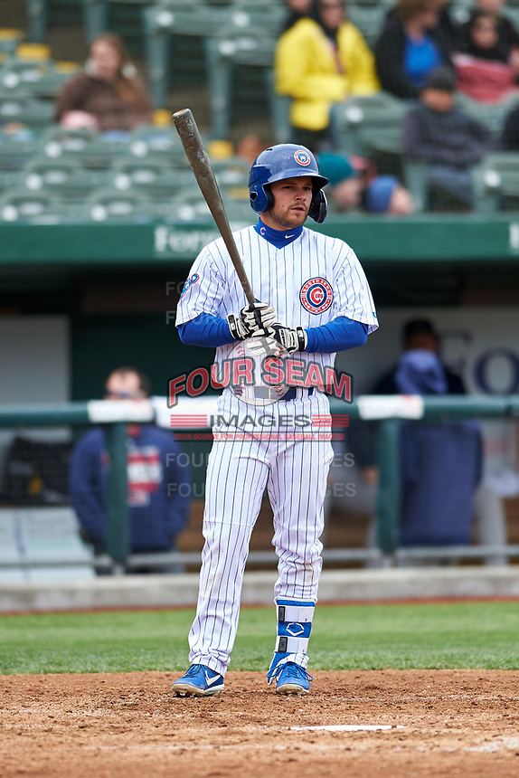 South Bend Cubs Levi Jordan (5) at bat during a Midwest League game against the Cedar Rapids Kernels at Four Winds Field on May 8, 2019 in South Bend, Indiana. South Bend defeated Cedar Rapids 2-1. (Zachary Lucy/Four Seam Images)