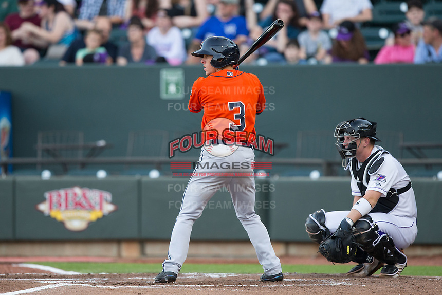 Myles Straw (3) of the Buies Creek Astros at bat against the Winston-Salem Dash at BB&T Ballpark on April 15, 2017 in Winston-Salem, North Carolina.  The Astros defeated the Dash 13-6.  (Brian Westerholt/Four Seam Images)