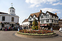 Bridge Street and High Street Circle in hometown of William Shakespeare in Stratford Upon Avon in the West Midlands Great Britian England