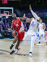 13th October 2021; Wizink Center; Madrid, Spain; Turkish Airlines Euroleague Basketball; game 3; Real Madrid versus AS Monaco; Alpha Diallo (AS Monaco) brings the ball forward against  Guerschon Yabusele  (Real Madrid Baloncesto)