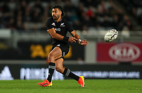 NZ's Richie Mo'unga passes during the Bledisloe Cup rugby match between the New Zealand All Blacks and Australia Wallabies at Eden Park in Auckland, New Zealand on Saturday, 14 August 2021. Photo: Simon Watts / lintottphoto.co.nz / bwmedia.co.nz