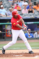 Barbaro Canizares of Team Spain at bat during a game against Team Israel during the World Baseball Classic preliminary round at Roger Dean Stadium on September 21, 2012 in Jupiter, Florida. Team Israel defeated Team Spain 4-2. (Stacy Jo Grant/Four Seam Images)