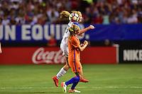 Atlanta, GA - Sunday Sept. 18, 2016: Lindsey Horan, Desiree van Lunteren during a international friendly match between United States (USA) and Netherlands (NED) at Georgia Dome.