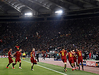 Football Soccer: UEFA Champions League AS Roma vs Chelsea Stadio Olimpico Rome, Italy, October 31, 2017. <br /> Roma's Stephan El Shaarawy celebrates with his teammates after scoring during the Uefa Champions League football soccer match between AS Roma and Chelsea at Rome's Olympic stadium, October 31, 2017.<br /> UPDATE IMAGES PRESS/Isabella Bonotto