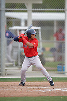 Boston Red Sox Santiago Espinal (10) bats during a minor league Spring Training intrasquad game on March 31, 2017 at JetBlue Park in Fort Myers, Florida. (Mike Janes/Four Seam Images)