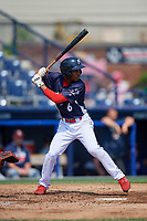 Reading Fightin Phils shortstop Malquin Canelo (6) at bat during the first game of a doubleheader against the Portland Sea Dogs on May 15, 2018 at FirstEnergy Stadium in Reading, Pennsylvania.  Portland defeated Reading 8-4.  (Mike Janes/Four Seam Images)