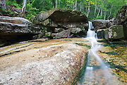 Mt Field Brook Cascades in Bethlehem, New Hampshire USA during the summer months when the water level was low. This area is within the White Mountain National Forest.