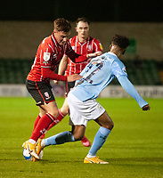 Lincoln City's Robbie Gotts battles with Manchester City U21's Adrian Berbnabe<br /> <br /> Photographer Andrew Vaughan/CameraSport<br /> <br /> EFL Papa John's Trophy - Northern Section - Group E - Lincoln City v Manchester City U21 - Tuesday 17th November 2020 - LNER Stadium - Lincoln<br />  <br /> World Copyright © 2020 CameraSport. All rights reserved. 43 Linden Ave. Countesthorpe. Leicester. England. LE8 5PG - Tel: +44 (0) 116 277 4147 - admin@camerasport.com - www.camerasport.com