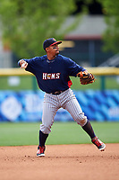 Toledo Mudhens shortstop Dixon Machado (6) throws to first base during a game against the Buffalo Bisons on May 18, 2016 at Coca-Cola Field in Buffalo, New York.  Buffalo defeated Toledo 7-5.  (Mike Janes/Four Seam Images)