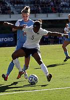 SAN DIEGO, CA - DECEMBER 02, 2012:  Hanna Gardner (71) of the University of North Carolina tackles Maya Hayes (5) of Penn State University during the NCAA 2012 women's college championship match, at Torero Stadium, in San Diego, CA, on Sunday, December 02 2012. Carolina won 4-1.