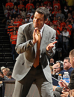 Dec. 17, 2010; Charlottesville, VA, USA; Virginia Cavaliers head coach Tony Bennett reacts in the final moments of the game against the Oregon Ducks at the John Paul Jones Arena. Virginia won 63-48. Mandatory Credit: Andrew Shurtleff-