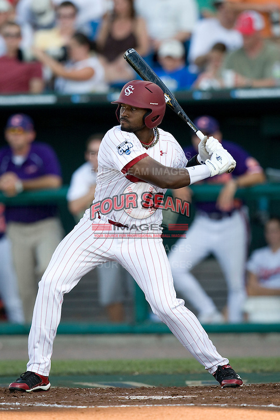 South Carolina CF Jackie Bradley Jr.  in Game 14 of the NCAA Division One Men's College World Series on June 26th, 2010 at Johnny Rosenblatt Stadium in Omaha, Nebraska.  (Photo by Andrew Woolley / Four Seam Images)