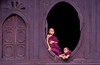 Novice Buddhist Monks at a Monastery near Sagig, Burma, Myanmar